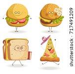 cheerful fast food cartoon... | Shutterstock .eps vector #717491209