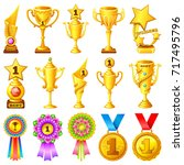 cartoon games rewards. icon set ...