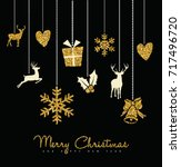 holiday hanging gold glitter... | Shutterstock .eps vector #717496720