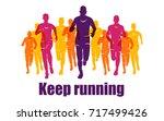 running marathon  people run ... | Shutterstock .eps vector #717499426