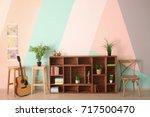 modern living room interior... | Shutterstock . vector #717500470