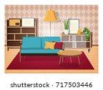 retro interior of living room... | Shutterstock .eps vector #717503446