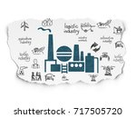 industry concept  painted blue... | Shutterstock . vector #717505720