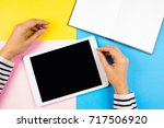 female hands with tablet...   Shutterstock . vector #717506920