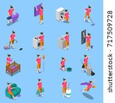 isometric icons set with... | Shutterstock .eps vector #717509728