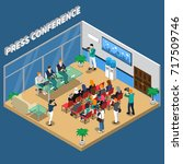 press conference isometric... | Shutterstock .eps vector #717509746