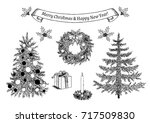 hand drawn christmas... | Shutterstock .eps vector #717509830