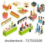fast food cart cafe restaurant... | Shutterstock .eps vector #717510100