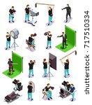 cinematograph isometric... | Shutterstock .eps vector #717510334