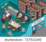 city library with books... | Shutterstock .eps vector #717511240