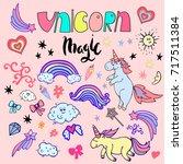 unicorn magic design. hand... | Shutterstock .eps vector #717511384