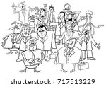 black and white cartoon...   Shutterstock . vector #717513229