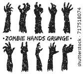 zombie hands silhouette grunge...   Shutterstock .eps vector #717518074