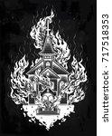 burning church flash tattoo... | Shutterstock .eps vector #717518353