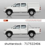pickup truck vector mock up for ... | Shutterstock .eps vector #717522406