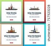 visa to usa  canada  england ... | Shutterstock .eps vector #717523228