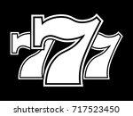 triple lucky sevens black and...   Shutterstock .eps vector #717523450