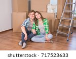 home  people  moving and real... | Shutterstock . vector #717523633