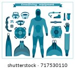 set of isolated freediving... | Shutterstock .eps vector #717530110