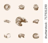 hand drawn bakery sketches set. ... | Shutterstock .eps vector #717531250