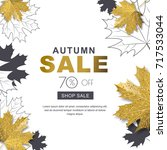 autumn sale banner with 3d... | Shutterstock .eps vector #717533044