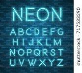 realistic neon alphabet....   Shutterstock .eps vector #717533290