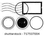 blank postal stamps set... | Shutterstock .eps vector #717537004