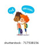 two multiracial boys with... | Shutterstock . vector #717538156