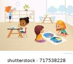 multiracial children in... | Shutterstock . vector #717538228