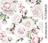 seamless pattern with flowers... | Shutterstock . vector #717538420