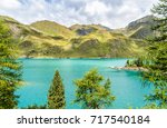 view of lake ritom with the... | Shutterstock . vector #717540184