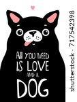 Kawaii Black Dog With Letterin...