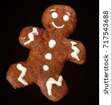 gingerbread man isolated on... | Shutterstock . vector #717543688