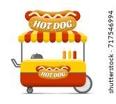 hot dog street food cart.... | Shutterstock .eps vector #717546994