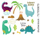 cute vector dinosaurs isolated...   Shutterstock .eps vector #717550873
