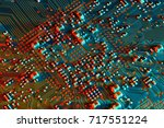 electronic circuit board close... | Shutterstock . vector #717551224