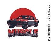 muscle car vector illustration | Shutterstock .eps vector #717556330