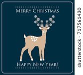 new year and christmas card... | Shutterstock .eps vector #717561430