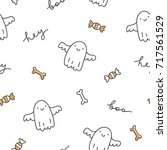 halloween seamless pattern with ... | Shutterstock .eps vector #717561529