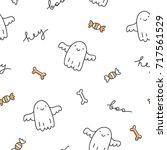 halloween seamless pattern with ... | Shutterstock .eps vector #717561529