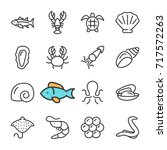vector black line seafood icons ... | Shutterstock .eps vector #717572263