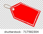 red blank tag  white crayon... | Shutterstock .eps vector #717582304