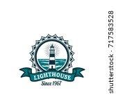 nautical lighthouse round badge.... | Shutterstock .eps vector #717583528