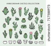 hand drawn cactus set.... | Shutterstock .eps vector #717588973