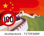 ico decline. ico ban in china.  ... | Shutterstock .eps vector #717593089