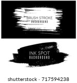 Ink design elements. brush strokes, spots. Black artistic design elements, place for text or information.