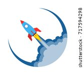 start up of the space rocket.... | Shutterstock .eps vector #717594298