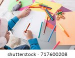 writing letter to santa. child... | Shutterstock . vector #717600208