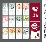 calendar 2018 animal template... | Shutterstock .eps vector #717603874