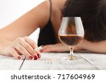 woman alcoholism is social...   Shutterstock . vector #717604969